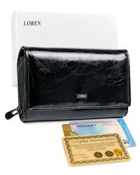 Damski, podłużny portfel damski z klapką, skórzany Loren