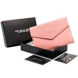 Duży portfel damski ze skóry naturalnej zamykany klapką, RFID — Cavaldi