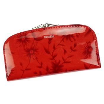 Pojemny damski portfel skórzany w kwiaty z RFID