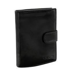 Zapinany, poziomy portfel skórzany z dużymi okienkami na dokumenty — Rovicky