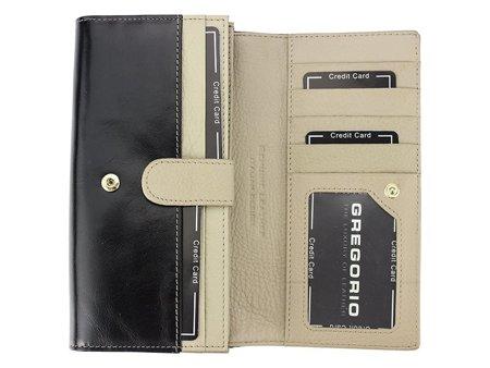 Duży klasyczny damski portfel skórzany Gregorio