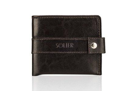 Elegancki brązowy skórzany męski portfel SOLIER SW05