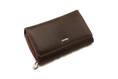 Klasyczny skórzany czekoladowy damski portfel