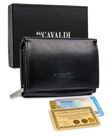 Mały portfel damski skórzany RFID stop Cavaldi® skóra zatrzask