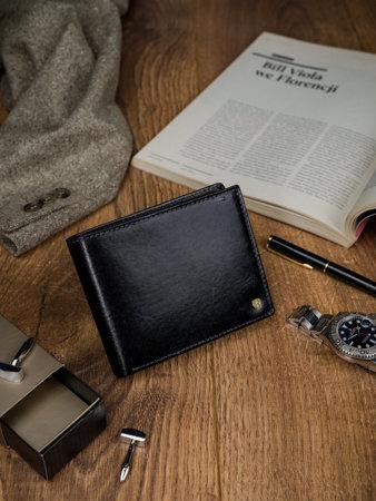 Piękny duży portfel męski ze skóry licowej z RFID — Rovicky
