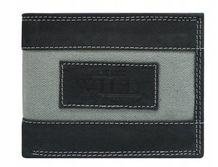 Poziomy portfel z elementami jeansu, skóra naturalna nubuk— Always Wild